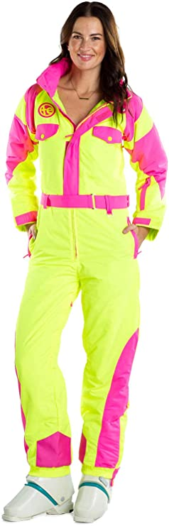 80s Costumes, Outfit Ideas- Girls and Guys Tipsy Elves Womens Neon Yellow Powder Blaster Ski Suit - Retro Snowsuit for Female $199.00 AT vintagedancer.com