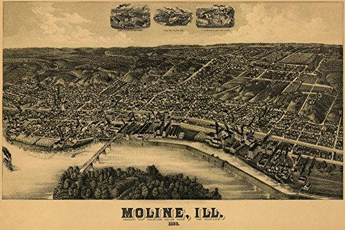 Moline, Illinois - Panoramic Map (16x24 SIGNED Print Master Giclee Print w/Certificate of Authenticity - Wall Decor Travel Poster) (Panoramic Illinois Map)
