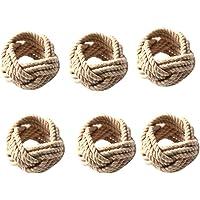 BOINN 6 hebillas de tela de yute natural para servilletas, cuerda tejida, hebilla para servilletas, cordón encerado