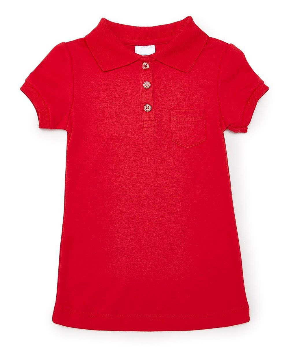Big Girl's Red School Uniform Polo Shirt Short with Pocket Slim Fit Sleeve Size 12