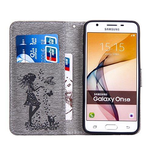 Funda Galaxy J5 Prime, Funda de brillo Galaxy J5 Prime, Lifetrut Sólido Shiny Sparkle Libro de Estilo de Cuero con Ranura para Tarjetas de Cierre Magnético Soporte Funda de Teléfono de la Función con  E202-Gris