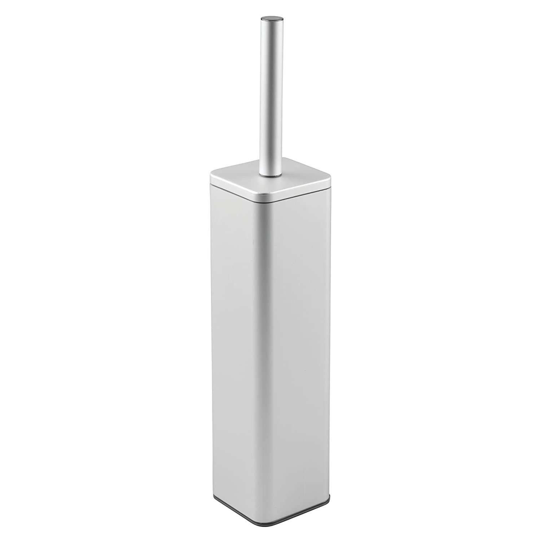 Escobilla de ba/ño de alta calidad Moderno escobillero de color plateado con soporte mDesign Portaescobilla de aluminio