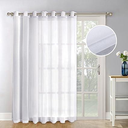 NICETOWN Patio Door Sheer Curtain Panels - Linen Look Texture Semi-voile  Window Drapes for - Amazon.com: NICETOWN Patio Door Sheer Curtain Panels - Linen Look