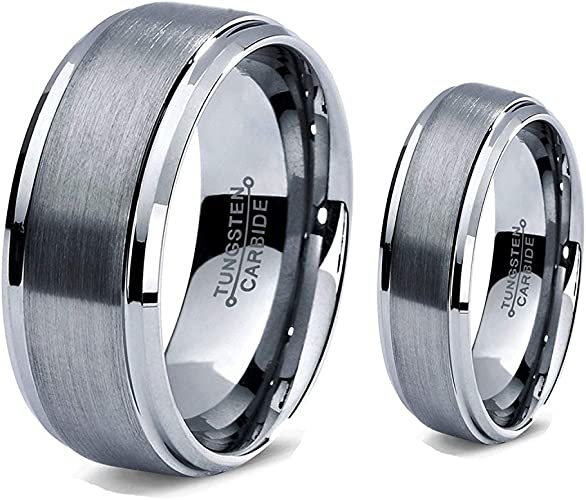 Free Engraving 8mm Tungsten Carbide Black Enamel Center with Shiny Stepped Edge Wedding Band Ring for Him or Her
