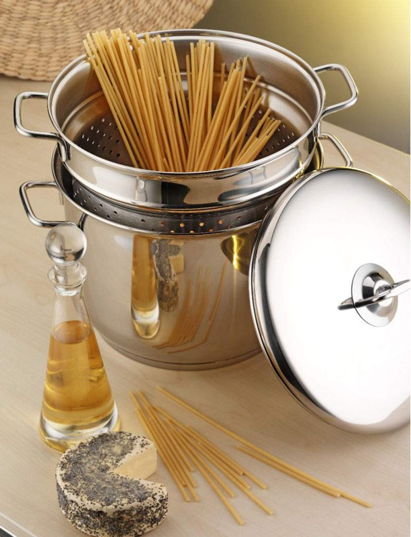22 cm Stainless Steel Spaghetti Pasta Pot Pan Strainer Set Stockpot Induction Base GEEZY