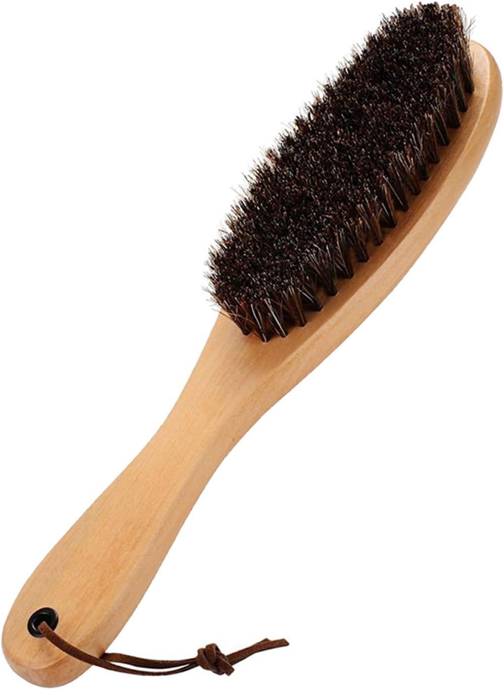 Cepillo para Ropa, Remover Pelusa, cerdas de Crin de Caballo genuinas, Suaves, auténticas, con Mango de Madera de Cokaka, 1-Pack (Solid Wood)