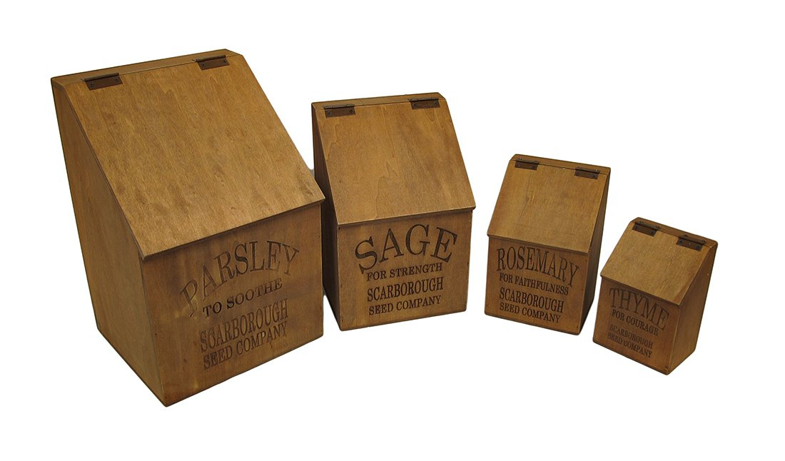 Vintage Style Nesting Wooden Herb Canisters w/Hinged Lids Set of 4 by Zeckos