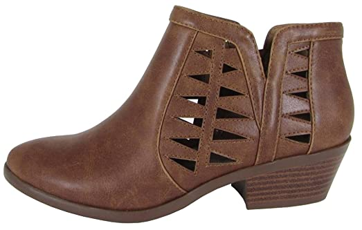 FF50 Women's Perforated Cut Out Stacked Block Heel Ankle Booties (Cognac)