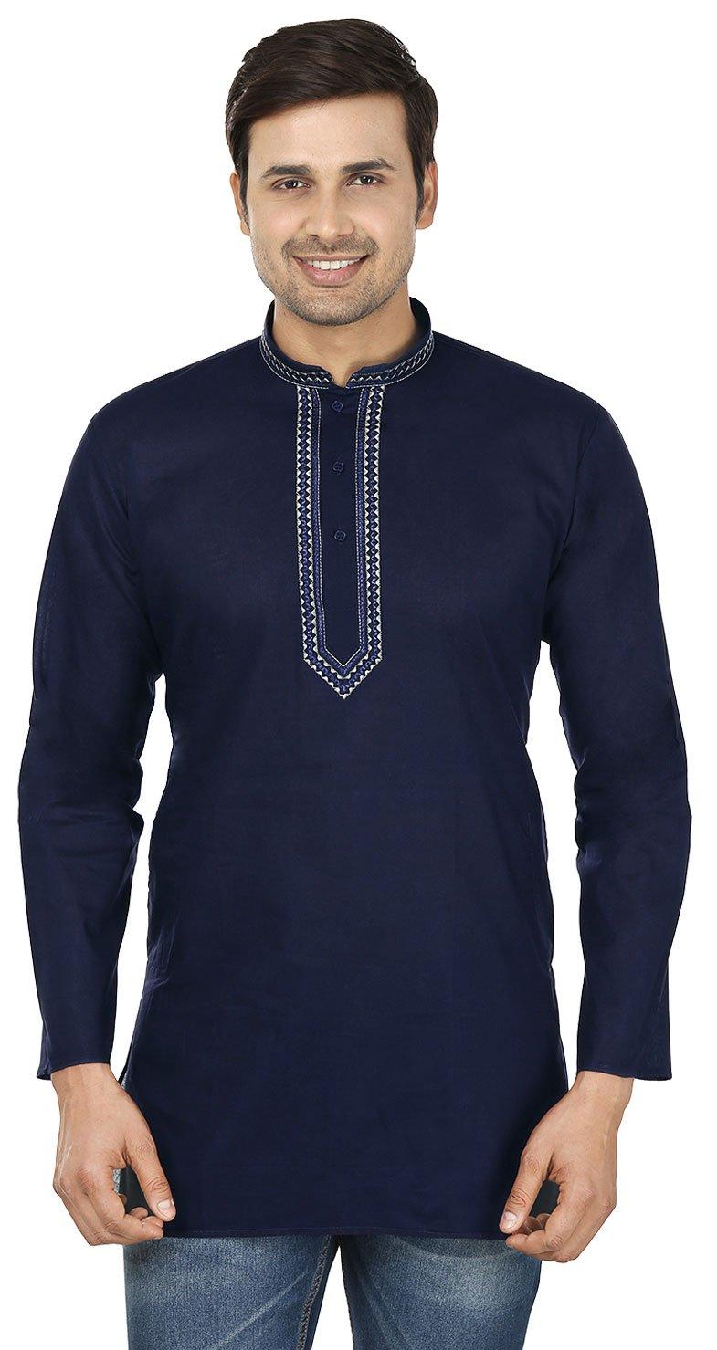 Embroidered Cotton Mens Short Kurta India Fashion Clothes (Navy Blue, L)