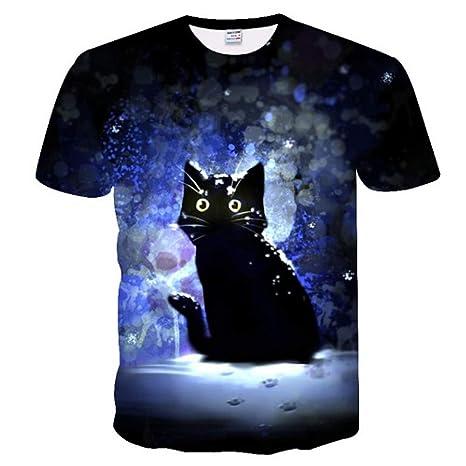 NSDX Camiseta 3D De Hombre Blanco Y Negro Gatos Camiseta Hombre ...