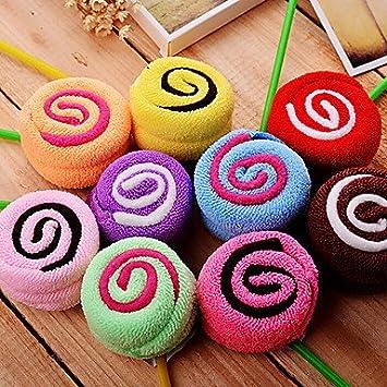 regalo de Navidad piruleta Forma toalla (100% algodón, 20 * 20 cm * 2pcs, despacho Color): Amazon.es: Hogar