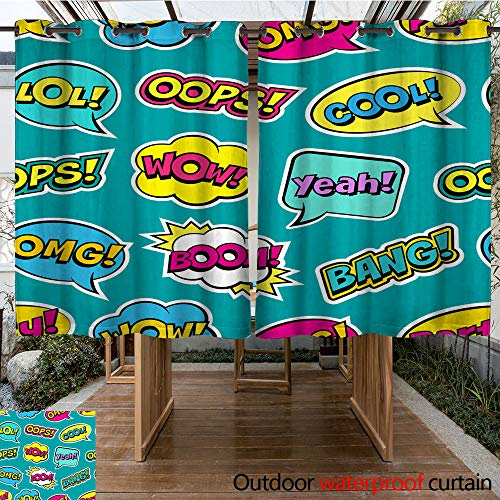 (WinfreyDecor Home Patio Outdoor Curtain Seamless Colorful Pattern with Comic Speech Bubbles Patches on Green Background Expressions OOPS Cool Yeah Boom Wow OMG W108 x L72)