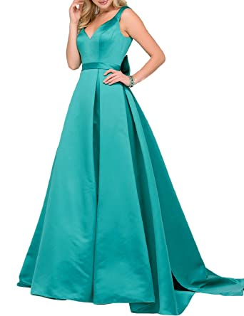 Fashion V Neck Bow Prom Dress Long 2018 Womens Formal Evening Gown With Straps Empire Waist