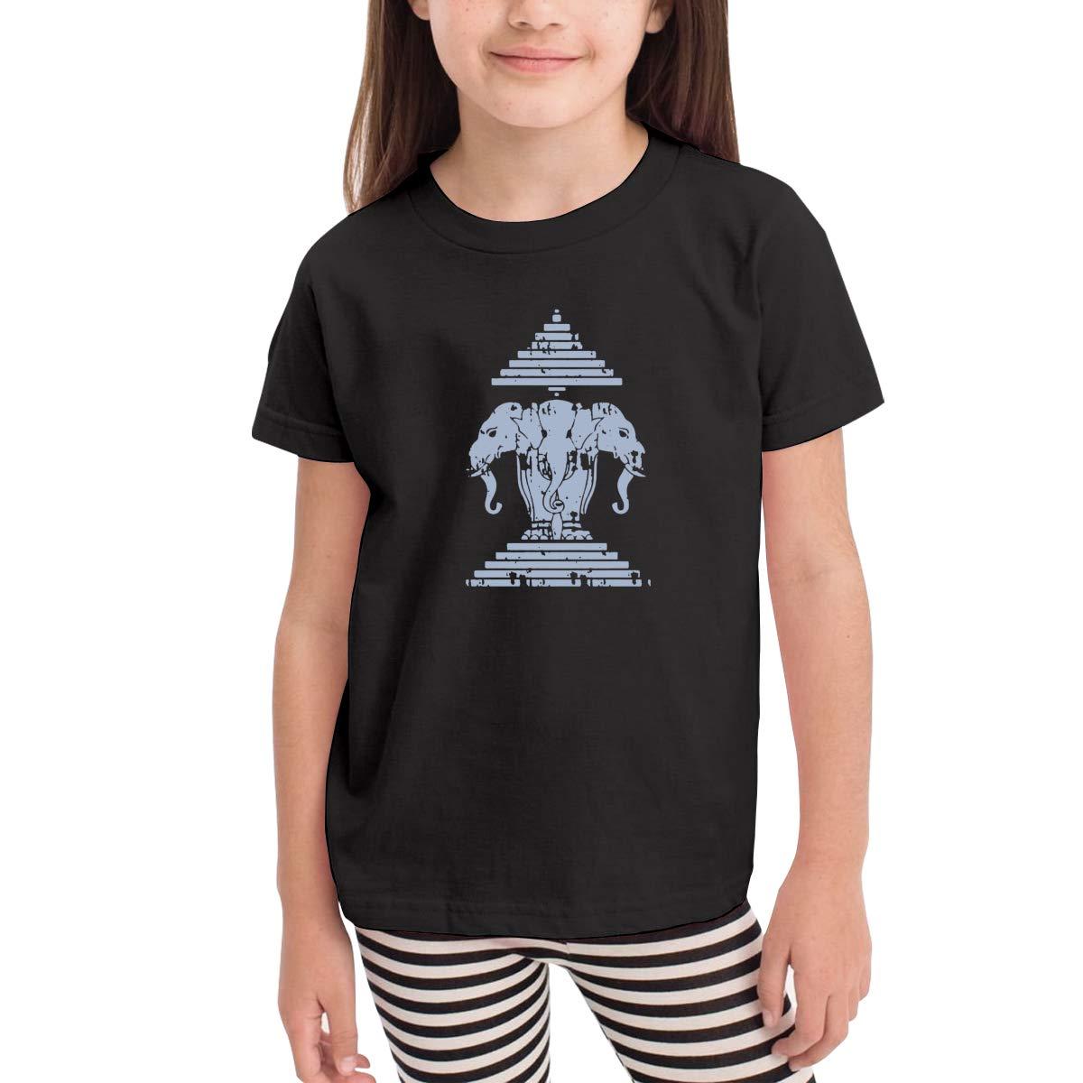 Erawan Lao Laos Flag Unisex Youths Short Sleeve T-Shirt Kids T-Shirt Tops Black