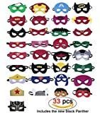 33 Pieces Superhero Masks,Superhero Party Supplies,Superhero Cosplay Masks,Including the Black Panther,Superheroes Included: Captain America, Superman,iron man, Party Favors Half Masks for Children or Boys Aged 3+ (33pc)