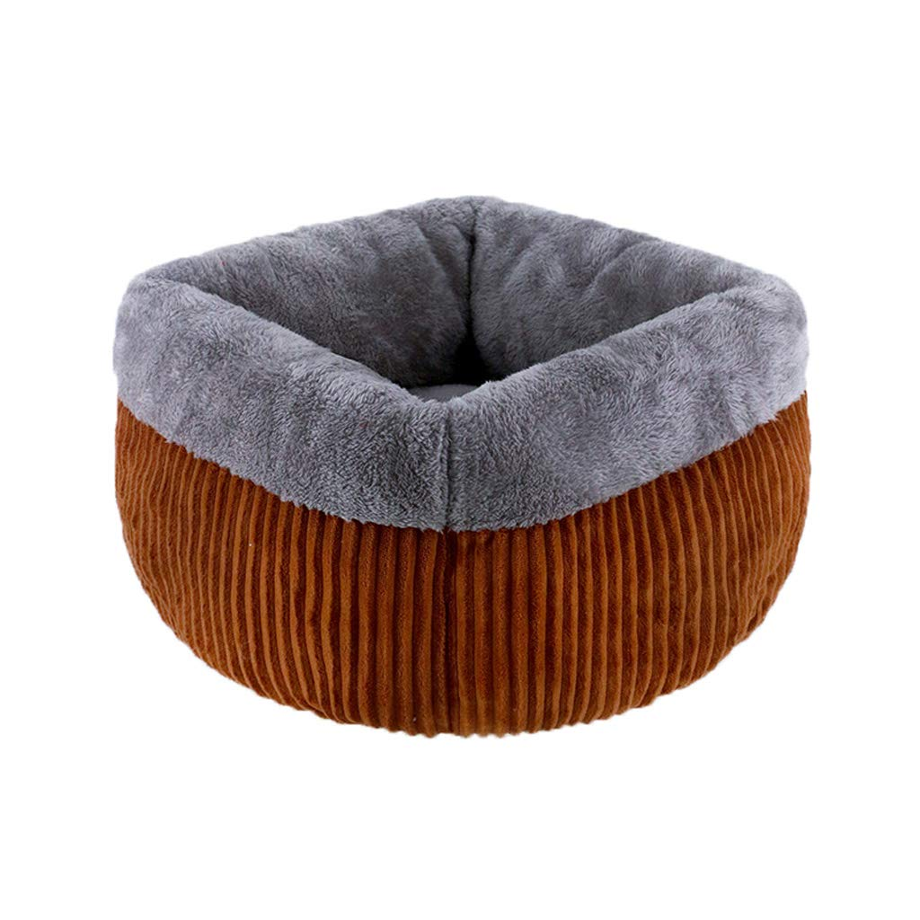 BROWN S BROWN S WANGXIAOLIN Dog Bed, Cat Nest, Pet Supplies, Semi-Closed Cat Litter, Doghouse, Four Seasons, (color   Brown, Size   S)
