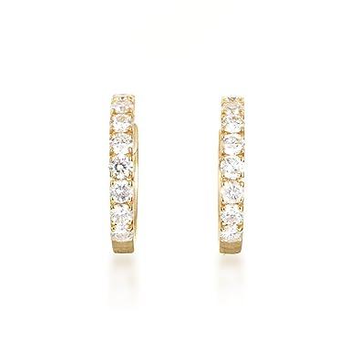 Amazon Womens Petite 14K Rose Gold Diamond Hoop Earrings AER
