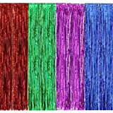 UPlama 4PACK 1M x 3M Different Color Metallic Tinsel Foil Fringe Curtains for Party Photo Backdrop Birthday Wedding Party Decor Christmas Decorations.(Red, Blue, Green, Pueple)
