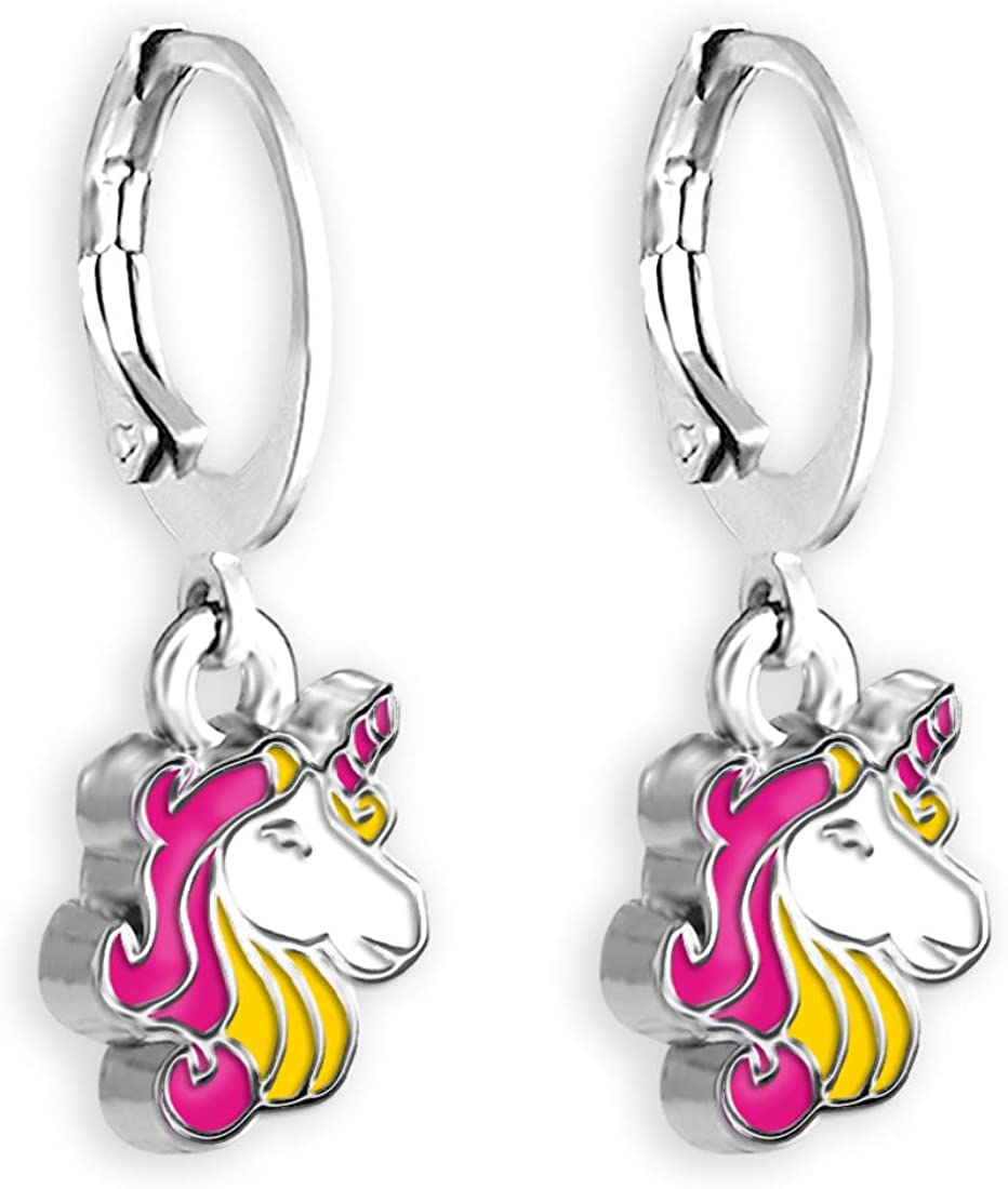 Unicorn Jewelry For Women And Teens Unicorn Hoops Earrings For Women Small Hoop Earrings For Women With Hand Painted Unicorn Choose From Pink Or Purple Earrings Magic Jewelry Small Hoop Earrings