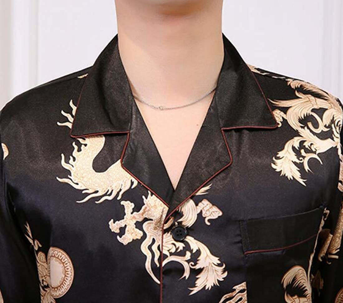 KLJR Men Sleepwear Silk Satin Long Sleeves Pajama Set Shirt and Pants