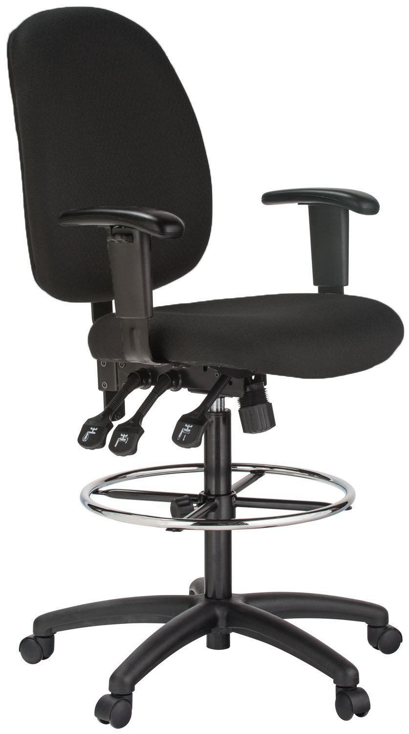Harwick Black Fabric Ergonomic Adjustable Drafting Chair