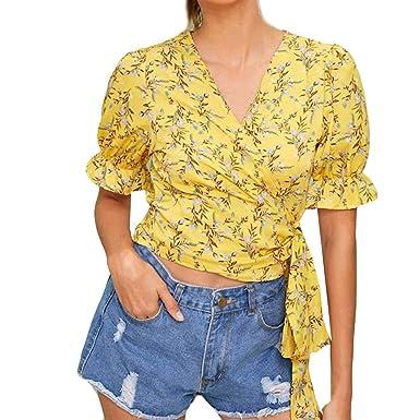 Camisas para Mujeres,Mujeres Amarillo V-Cuello Moda Wave Punto ...
