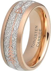 خاتم من التنجستين من مجوهرات اونلي لاف مقاس 8 ملم فضي/ ذهبي اصفر/ ذهبي وردي، خاتم زفاف للرجال والنساء بشكل سهم بمقاس مريح