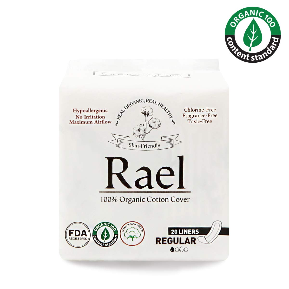 Rael Certified Organic Cotton Panty Liners, Regular - 2Pack/40 total - Unscented Pantiliners