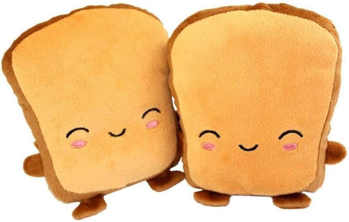 1 Pair Cute Toast Shape USB Heating Warm Glove Winter Half Wearable Fingerless Hand Warmers (Color : Smiling Face)