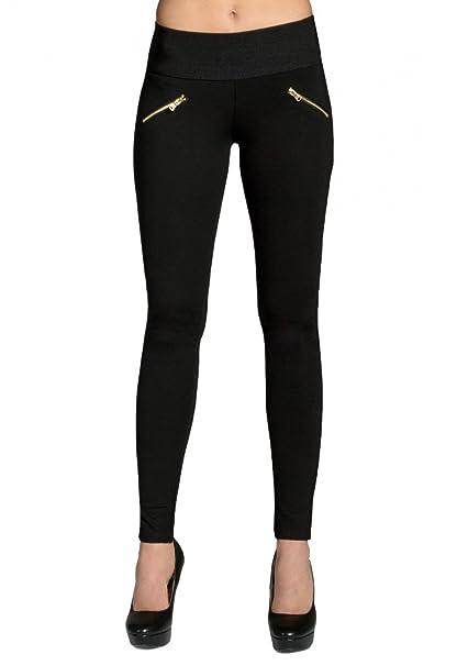 073cdcd487ba5 CASPAR HLE008 Leggings para Mujer Pantalones Elásticos con Cremalleras  Dorados  Amazon.es  Ropa y accesorios