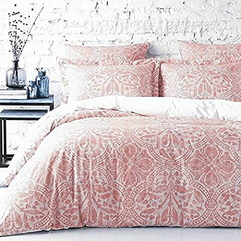 Stone Washed Flax Linen Duvet Quilt Cover Pure Genuine Linen Luxury 3pc Bedding Set Vintage Italian Damask Scroll Medallion Print Stonewashed Natural Taupe Grey (Queen, - Flax Color