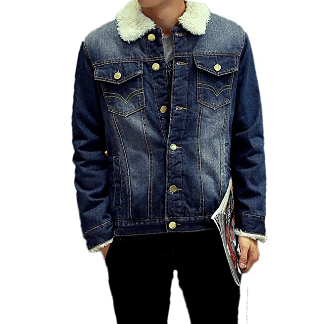 AvaCostume Mens Winter Fleece Lined Fur Collar Denim Jacket Coats