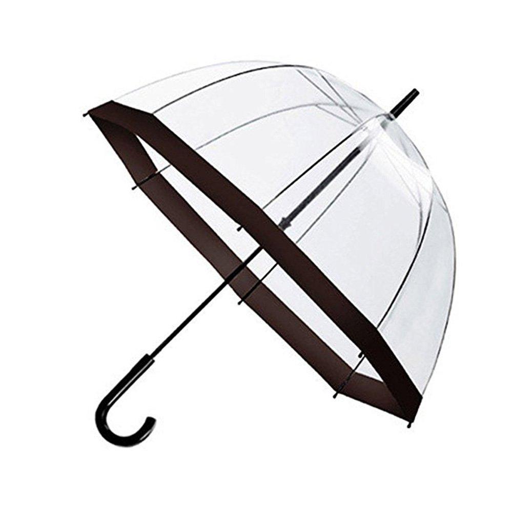 Clear Umbrella, Bubble Dome Transparent Umbrella for Weddings Windproof (Black)