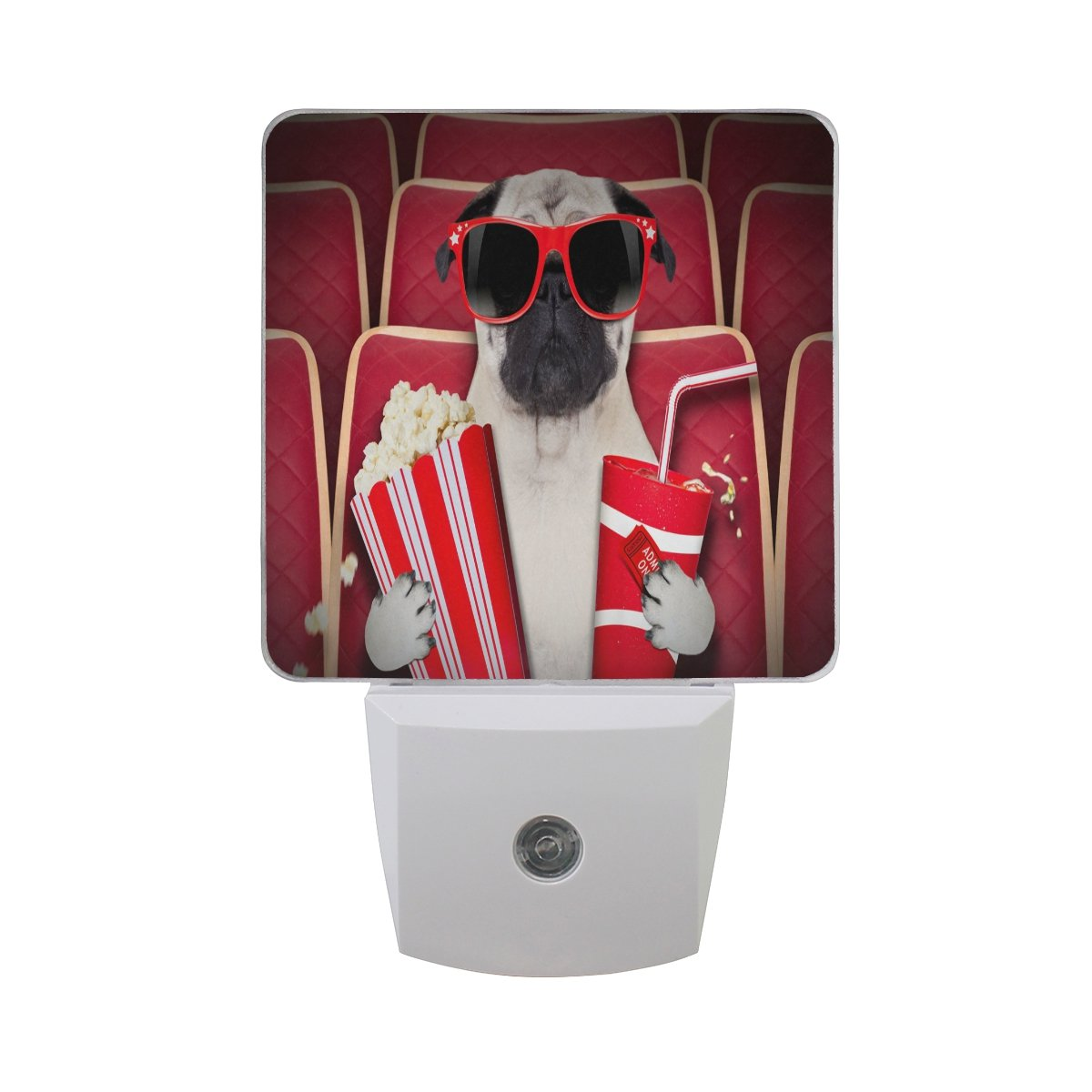 Saobao LED Night Light Energy saving Dog At The Movies Auto Senor Dusk to Dawn Night Light great for Bedroom bathroom living room Hallway any dark room, for child and adults
