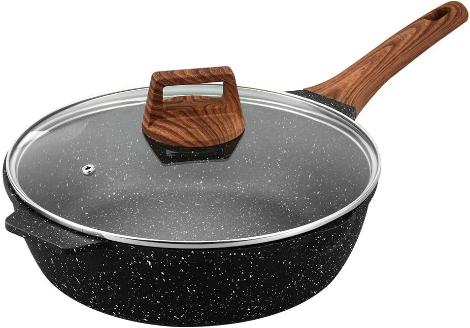 ESLITE LIFE Deep Frying Pan with Lid Nonstick Saute Pan with Granite Stone Coating, 11 Inch (5 Quart)