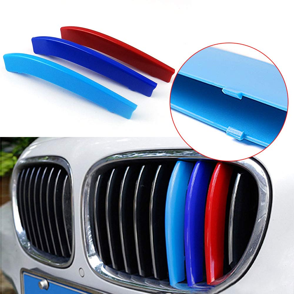Longzhimei Fit for BMW 7 series 740i 740Li 750i 760i 2014-2015 M-Colored Front Grille Insert Trim Strips Grill Cover 3Pcs 9 Grilles