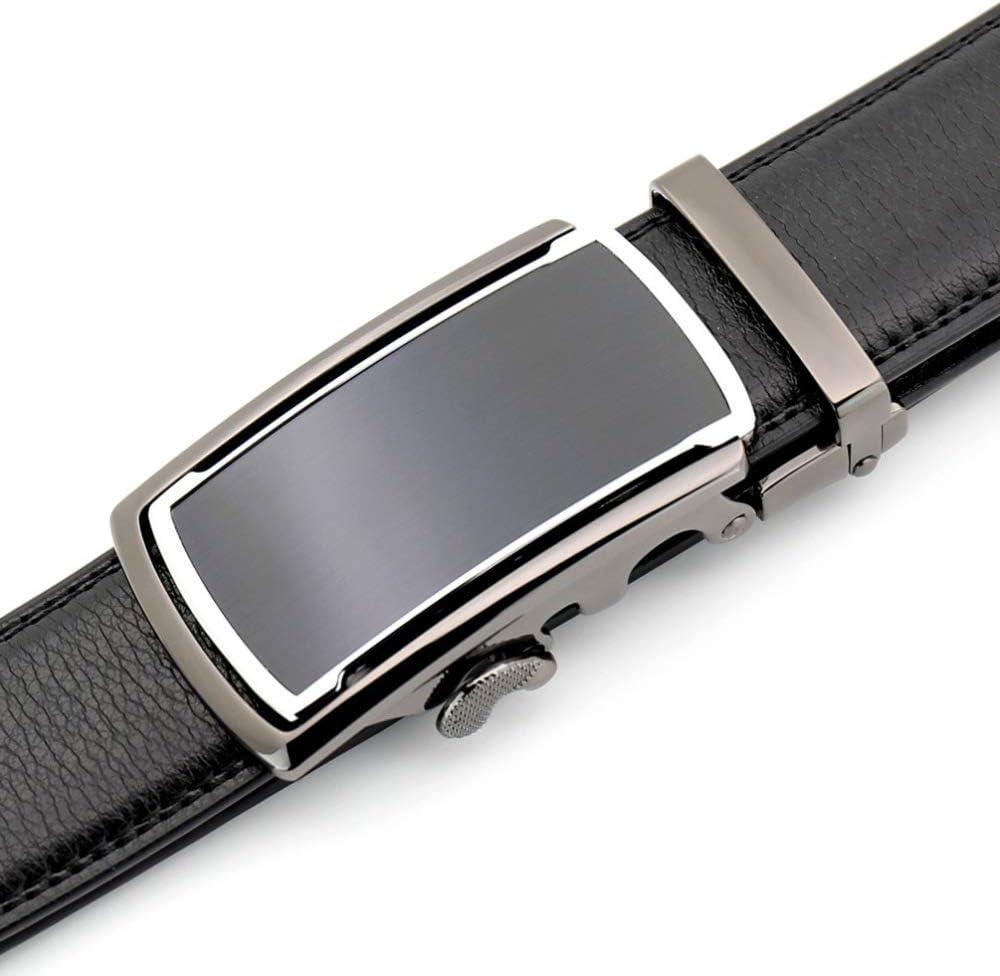 DENGDAI Mens Belt Belt Automatic Buckle Mens Leather Belt Length 100-135cm