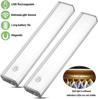 luz led armario,Luces LED Armario con Sensor Movimiento USB Recargable Luces Armario para Gabinete Pasillo, Escalera,Cocina,pasillo,recámara,sala infantil,almacén: Amazon.es: Iluminación