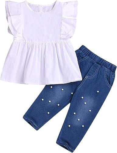 Puseky 2pcs niño niños niñas Ruffle camisa vestido Tops Jeans ...
