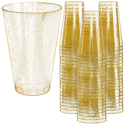 Disposable Plastic Party Cups – 12oz, 50 Pack - Fun Gold Glitter Design - Heavy Duty Glasses for Parties and Events – Durable and Reusable – By Prestee