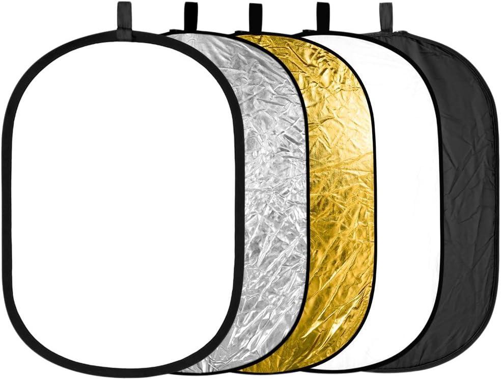 Neewer 5 en 1 Kit de Reflectores / Difusores de Luz , Portátil y Plegable 60 x 90cm para Fotografía, Estudio Foto, Iluminación Precisa para Tomar Fotos