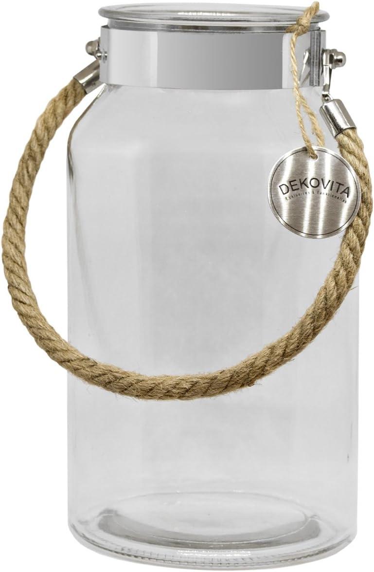 Dekovita frasco de almacenamiento 5l a:30/d:16/a: 10,6cm linterna de jardín frasco de cristal vidrio decorativo linterna jarrón