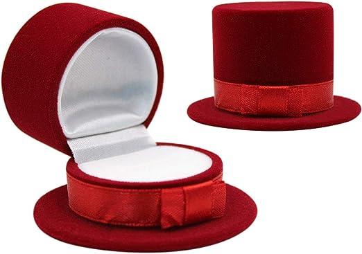 mossty Caja de Anillos con Forma de Sombrero, Caja de Terciopelo ...