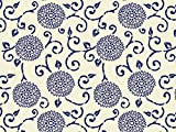 Blue Floral Printed Tissue Paper for Gift Wrapping (Blue Indigo Batik Blooms), 24 Sheets, Large 20x30 Sheets
