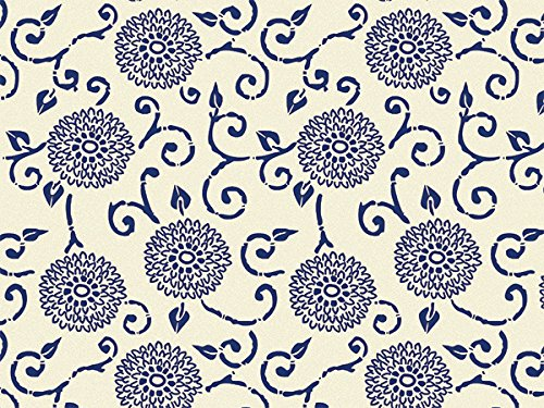 Blue Floral Printed Tissue Paper for Gift Wrapping (Blue Indigo Batik Blooms), 24 Sheets, Large 20x30 Sheets by Rustic Pearl Collection