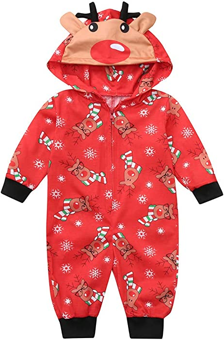 a894d5bc58 FEDULK Matching Family Pajamas Christmas Reindeer Print Hooded Sleepwear  Boys and Girls PJs Set(Red