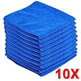 10pcs Microfiber Wash Clean Towels Cleaning Cloths Blue Furniture Cleaning Duster Soft Cloths 30x30cm
