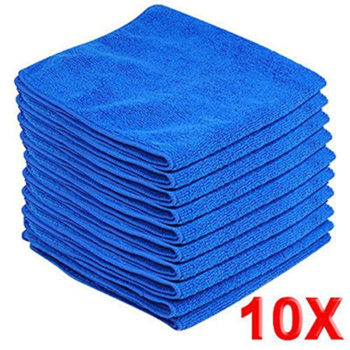 10pcs Microfiber Wash Clean Towels Cleaning Cloths Blue Car Furniture Cleaning Duster Soft Cloths 30x30cm