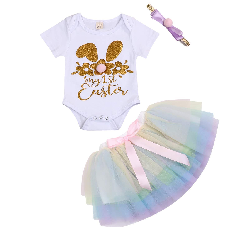 Baby Girls My 1st Easter Skirt Sets Newborn Kids Bunny Printed Short Sleeve Romper+Tutu Skirt+Headband+Leg Warmers Outfits
