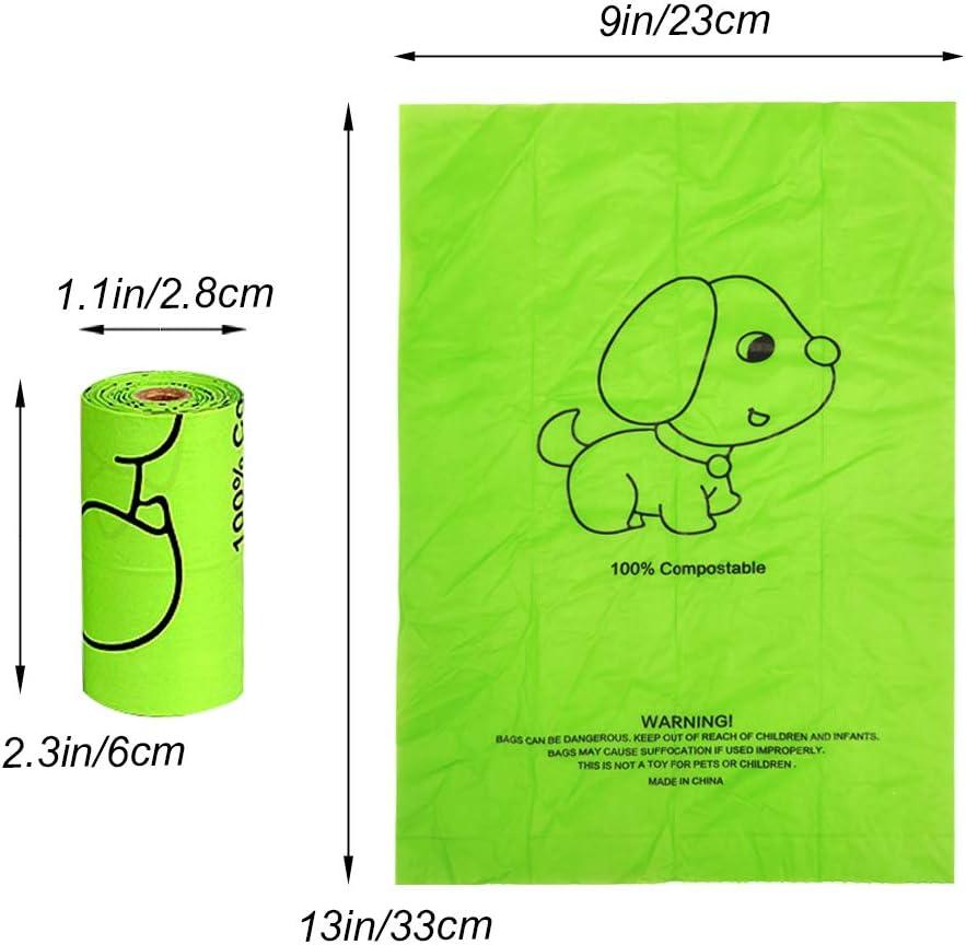 Bolsas de caca de perro Dispensador de bolsas de basura con clip para la correa incluye 1 rollo 15 bolsas de caca a prueba de fugas para mascotas basura o pa/ñales usados con la correa en movimiento